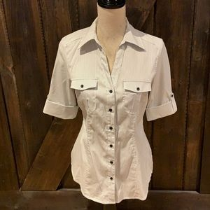 Suzy shier striped button down short sleeve top